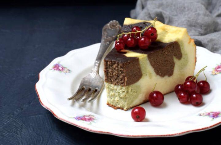 Receta de bizcocho de chocolate blanco y matcha