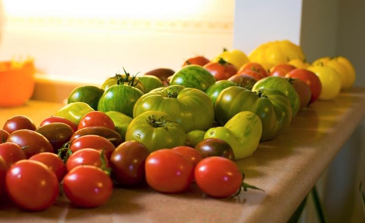 El color de frutas, vegetales y verduras
