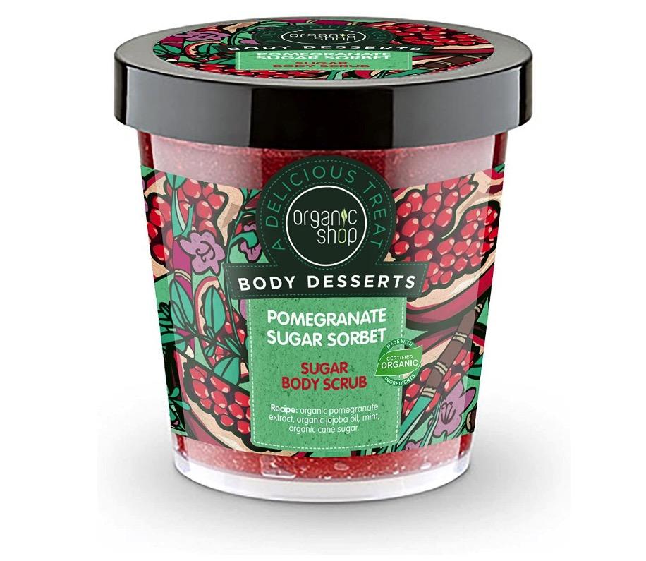 Exfoliante corporal de azúcar con sorbete de granada de Organic Shop
