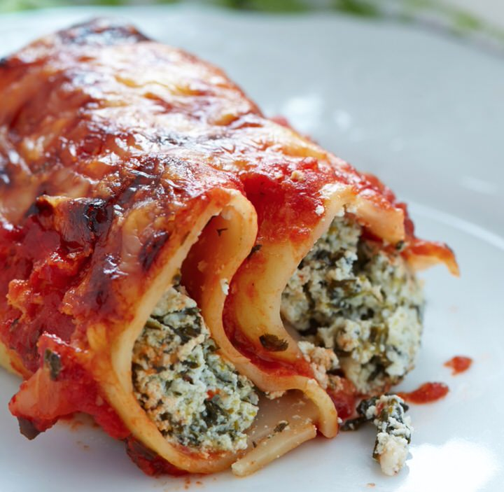 Canelones de requesón