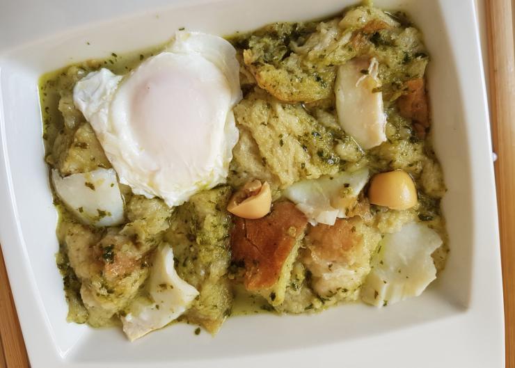 Receta de sopa de bacalao y cilantro