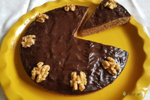 Receta de tarta de nueces y chocolate