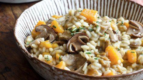 Receta de risotto de calabaza y setas